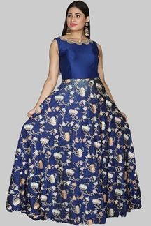 Picture of Mesmerising Royal Blue Colored Designer Partywear Anarkali Suit