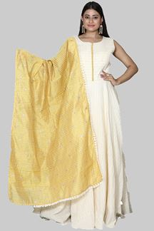 Picture of Charming Yellow& Cream Colored Cotton Anarkali Suit