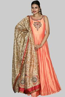 Picture of Flamboyant Peach Color Silk Anarkali Suit