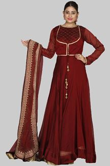 Picture of Gorgeous Maroon Colored Designer Partywear Anarkali Suit