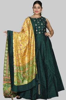 Picture of Impressive Bottle Green Colored Anarkali Suit