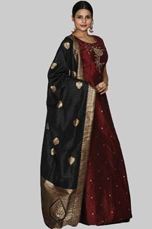 Picture of Magnetic  Maroon Colored Art Silk Suit
