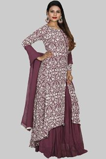 Picture of Purple Colored Asymmetrical Palazzo Suit