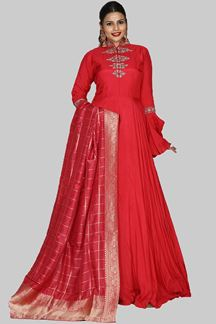 Picture of Glorious Red Colored Designer Art Silk Anarkali Suit
