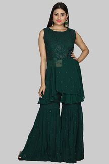Picture of Green Colored Peplum Style Palazzo Suit