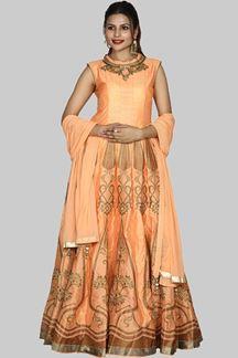 Picture of Orange Color Art Silk Anarkali Suit