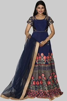 Picture of Desirable Navy Blue Colored Partywear Silk Anarkali Suit