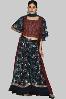 Picture of Intricate Maroon & Rama  Colored Party Wear Palazzo Suit