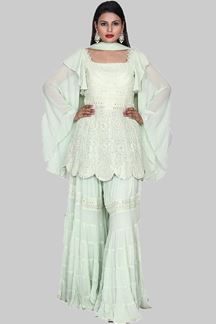 Picture of Capricious Light Green Colored Georgette Gharara Suit