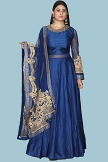 Picture of Mesmerising Royal Blue Colored Party Wear Anarkali Suit