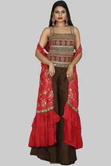 Picture of Brown & Red Colored Jacket Style Palazzo Suit