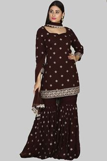 Picture of Fantastic Brown Colored Partywear Gharara Suit