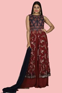 Picture of Adorning Red & Navy Blue Colored Party Wear Georgette Palazzo Suit