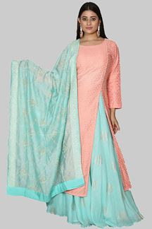 Picture of Elegant Peach & Green Color Party Wear Cotton Base Anarkali Suit