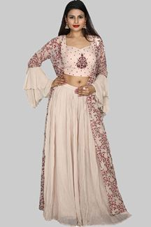 Picture of Gorgeous Red & Light Peach Colored Georgette Jacket Palazzo Suit