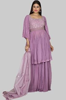 Picture of Exclusive Lavender Colored Partywear Georgette Palazzo Suit