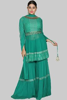 Picture of Exclusive Bottle Green Colored Gharara Suit