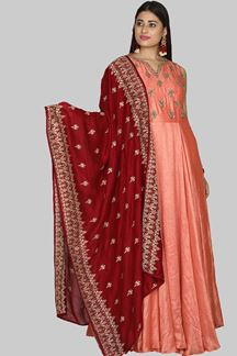 Picture of Glowing Dark Peach Colored Anarkali Suit
