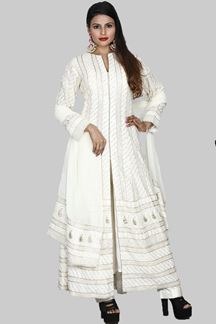 Picture of Impressive Cream Colored Lucknowi Anarkali Suit With Pant