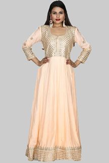 Picture of Exceptional Peach Colored Cotton Silk Anarkali Suit