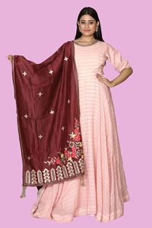 Picture of Glowing Peach Colored Party Wear Anarkali Suit