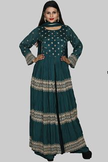 Picture of green anarkali and palazzo suit