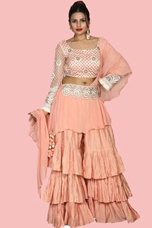 Picture of Amazing Peach Colored Crop Top Gharara Suit