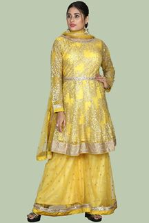 Picture of Gorgeous Yellow Colored Partywear Net Palazzo Suit