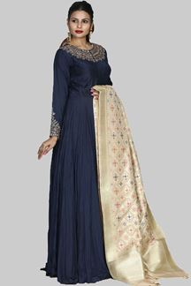 Picture of Ravishing Navy Blue Party Wear Embroidered Silk Anarkali Suit