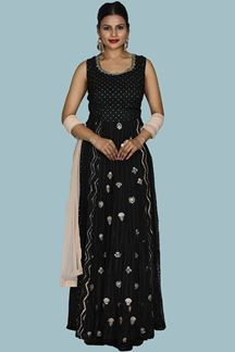 Picture of Black Colored Designer Chiffon Palazzo Suit