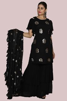 Picture of Amazing Black Colored Georgette Palazzo Suit