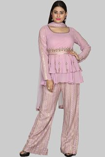 Picture of Ravishing Onion Pink Colored Party Wear Georgette Palazzo Suit