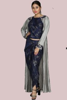 Picture of Beautiful Grey & Blue Color Short Top With Jacket & Dhoti
