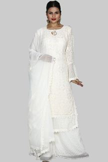 Picture of Capricious Off- White Colored Embroidered Georgette Palazzo Suit
