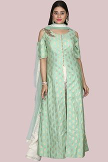 Picture of Sea Green & Cream Colored Long Top With Palazzo