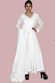 Picture of Radiant White Colored Partywear Palazzo Suit
