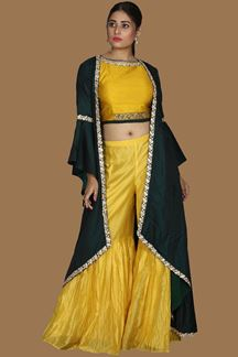 Picture of Yellow & Green Colored Gharara Style With Jacket