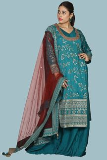 Picture of Elegant Rama Green Colored Silk Palazzo Suit