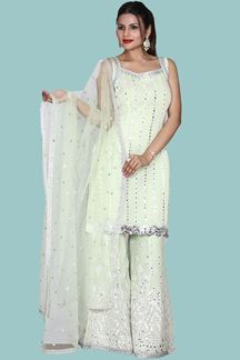 Picture of Pista Green Colored Georgette Straight Kurti With Palazzo