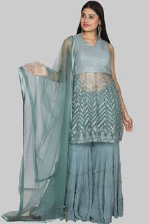 Picture of Stupendous Grey Color Designer Gharara