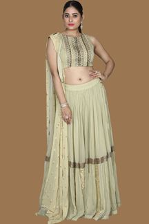 Picture of Light Green Colored Crop-Top Palazzo Suit