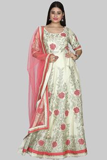 Picture of Appealing Cream & Peach Colored Embroidered Silk Anarkali Suit