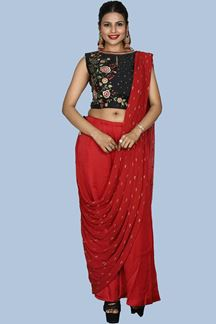 Picture of Black & Red Colored Palazzo Suit With Embellished Crop Top