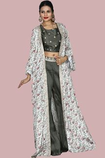 Picture of Trendy Grey Colored Jacket with Palazzo Suit