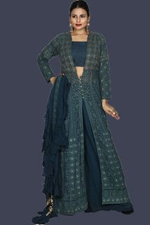 Picture of Hypnotic Blue Colored Embroidered Georgette Palazzo Suit