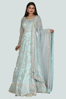 Picture of Classy Sky Blue Colored Party Wear Net Gown