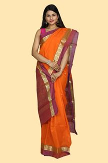 Picture of Mesmeric Orange-Purple Colored Gadwal Silk Saree