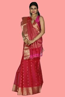 Picture of Rani Pink Color Gadwal Silk Saree