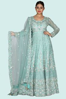 Picture of Glorious Green Colored  Embellished Net Gown With Net Dupatta