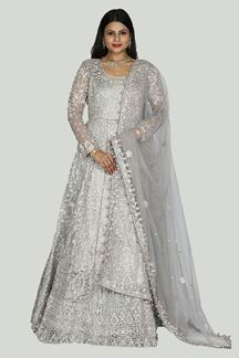 Picture of Attract This Grey Colored Bridal Party Wear Gown